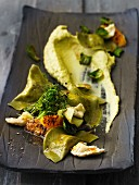 Ravioli with fennel and brussels sprouts puree