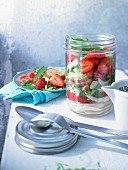 Gazpacho style bread salad with strawberries in a glass