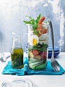 Mediterranean shrimp salad in a glass