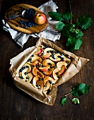Apple and blueberry pie (unbaked)