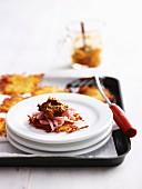 Potato Rosti with Ham and Tomato Pesto
