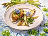 Salmon tartare with fried green asparagus