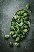 Brussel sprouts on a grey background