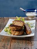 Tuna meatballs with salad
