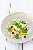 Fennel salad with mozzarella, basil and hazelnuts