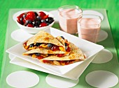 Fruit quesadillas with fruit and smoothies