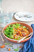 Salad with giant cous cous, roasted butternut squash, chorizo sausage, pumpkin seeds and rocket