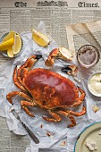 Freshly cooked crab with lemon wedges, mayo and beer