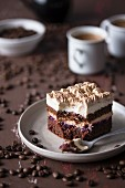 Cappuccino cake with chocolate sponge, coffee and vanilla frosting