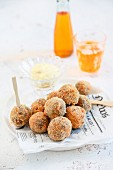 Meatballs served with homemade mayonnaise and aperitif
