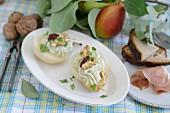 Pears stuffed with blue cream cheese and walnuts