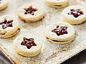 Raspberry jam biscuits