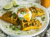 Sweet potato waffles with avocado and poached egg