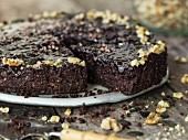 Vegan chocolate cake with walnuts