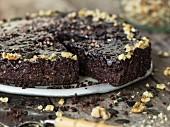 Vegan chocolate cake with walnuts