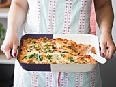 Courgette and aubergine lasagne in an oven dish