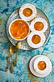 Orange marmalade biscuits with icing sugar