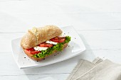 A baguette roll with tomato and mozzarella
