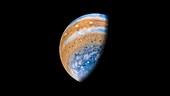 Jupiter, coloured Juno image