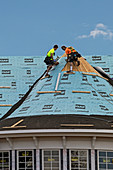 Synthetic roofing installation
