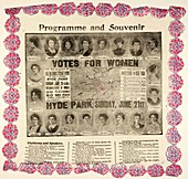 Suffragette demonstration advertisement