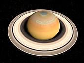 Saturn's north pole summer storms, illustration