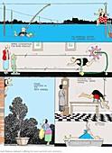 Swimming practice by W. Heath Robinson by W. Heath Robinson