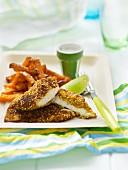 Fisch in Sesampanade mit Süsskartoffelpommes