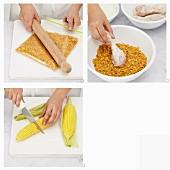 Knuspriges Buttermilchhähnchen mit Cornflakes-Panade und Maiskolben zubereiten
