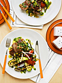 Char-Grilled Vegetable Salad with Lamb Cutlets