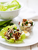 Chicken and Egg Lettuce Cups