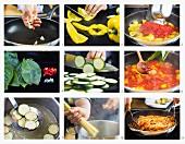 Bucatini mit Zucchini und Paprika zubereiten