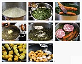 How to make kale with cured pork, sausage and fried potatoes
