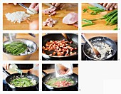 How to make strips of cured pork with green beans