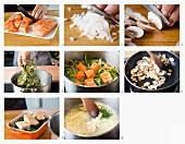 How to make salmon with horseradish sauce, leafy greens and mushrooms