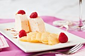 Almond parfait with pineapple and raspberries