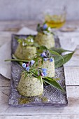Wild herb flans with herb flowers