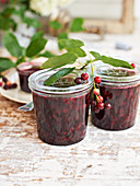 Jars of juneberry chutney