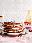 Strawberries and Cream Sponge Layer Cake