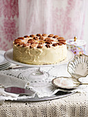 Caramel Angel Food Cake with Sugared Pecans