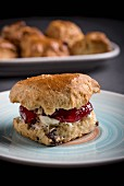 Single scone with jam and cloted cream