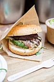 A portobello mushroom burger to take away
