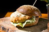 A schnitzel burger with gorgonzola