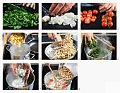 Penne mit Gorgonzola-Spinat-Sauce zubereiten