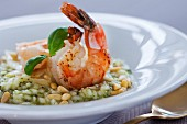 Risotto with prawns and pine nuts