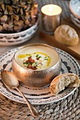 White-velvet soup with Wensleydale blue cheese