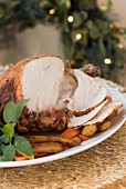 Roast turkey, sliced, for Christmas dinner