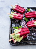 Homemade raspberry and matcha ice lollies with coconut (vegan)