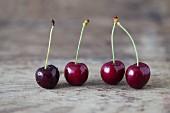 Four fresh cherries
