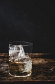 A glass of scotch on the rocks